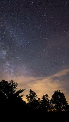 SKY NIGHT STAR DARK MOUNTAIN CLOUD SHADOW WALLPAPER HD IPHONE