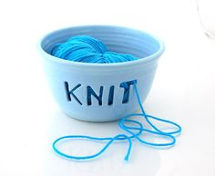 Knit Yarn Bowl  Knitting Crochet sky blue by LennyMud on Etsy, $34.00