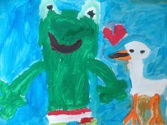 Schilderen van Kikker en Eend met plakkaatverf n.a.v. prentenboek 'Kikker is verliefd'.