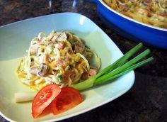 Southern Ham and Pasta Casserole with Mushroom Sauce: Ham and Spaghetti Cassero