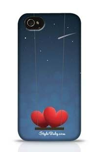 Couple Of Red Hearts On Swing In The Night Apple iPhone 4 Phone Case