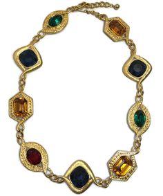 Vtg Napier Necklace Large Jewel Rhinestone Byzantium Gold tone Statement 1990s #Napier #Statement