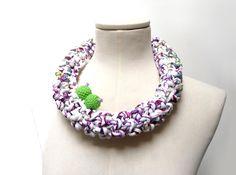 Crochet Statement Necklace White Purple Lime Green por ixela