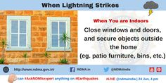 windows and doors and secure objects outside the home. Lightning Safety, Lightning Strikes, Thunderstorms, Windows And Doors, The Outsiders, Objects, Management, Author, Education