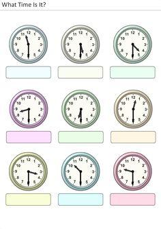 Actividades para niños preescolar, primaria e inicial. Plantillas con relojes analogicos para aprender la hora diciendo que hora es. Que hora es. 29