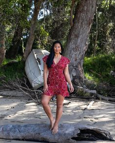 Red floral print mini dress to take you from bar to the beach. Modern Bohemian, Bohemian Style, Australian Fashion, Fashion Labels, Boho Dress, Printing On Fabric, Vintage Inspired, Floral Prints, Short Sleeve Dresses
