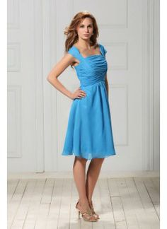 Stylish A-line Square Knee-length Chiffon Ruched Homecoming Dress