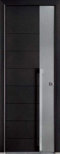 porte aluminium porte entree bel 39 m contemporaine barre de tirage ronde inox sans vitrage. Black Bedroom Furniture Sets. Home Design Ideas