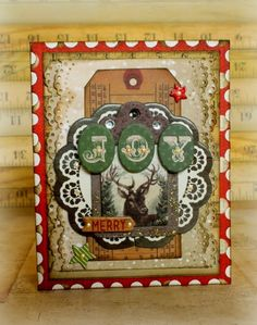 Joy Card by Romy Veul for BoBunny featuring Christmas Collage; Oct 2014   NTS: look at all the layers