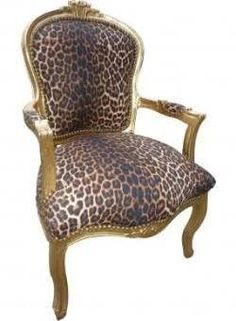 Wonderful Faux Leopard Gold Frame French Arm Chair   FU SALE Was