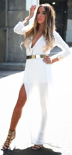 Haute And Rebellious Shop White Split Drape Grecian Inspired Maxi Dress by Haute And Rebellious