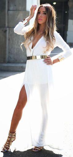 Haute And Rebellious Shop White Split Drape Grecian Inspired Maxi Dress by Haute And Rebellious