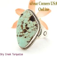 Size 13 Men's Dry Creek Turquoise Ring Navajo Tony Garcia NAR-1405 Four Corners USA OnLine Native American Jewelry Silver Jewellery Indian, Navajo Jewelry, Sterling Silver Mens Rings, Silver Ring, 925 Silver, Dry Creek, Turquoise Rings, Size 10 Rings, Tony Garcia