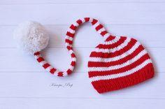 Christmas Hat, Baby Girl Santa's Hat, Newborn Knit Hat, New Year Hat, Baby Photo Prop, Baby Photo Prop, Baby Boy Santa's Hat by KanopaPatterns on Etsy
