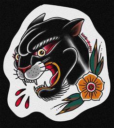 Old school panther - tattoos Tattoo Old School, Old School Tattoo Designs, Traditional Panther Tattoo, Traditional Tattoo Art, Neck Tattoo For Guys, Tattoos For Guys, Black Panther Tattoo, Panther Tattoos, Tatuagem Old Scholl