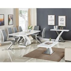 Axara Small Gloss Extendable Dining Table Set With 4 Gia Chairs Black Dining Chairs, Dining Room Table Chairs, Wooden Dining Tables, Extendable Dining Table Set, Dining Set, Extension Dining Table, Stylish Chairs, Small Dining, Grey