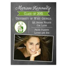 Kappa Delta Chalk Grad Announcements from Paper Style | Your college years have been great, in part due to the involvement of your sorority! Celebrate your graduation in style with these KD graduation announcements!
