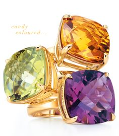 Tiffany Sparklers - yellow citrine, lavender amethyst, and green amethyst cocktail rings.