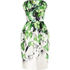 Prabal Gurung Floral-Print Satin Bustier Dress (£650) ❤ liked on Polyvore featuring dresses, vestidos, green, robes, short dresses, painterly lily print, floral print dress, green dress, floral cocktail dress and green bustier