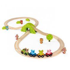 Grand train en bois de 30 pièces avec wagons magnétiques et nombreux accessoires. Découvre le monde extraordinaire de Scratchy et ses amis et invente de nombreux circuits différents à l'aide des rails en bois (pin) compatibles avec la plupart des trains du marché.