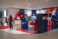PARIS – Bonsoir Paris breathes the French spirit into a retail campaign and art direction for Lacoste stores around the country. The retail environment plastered in red, white and blue pays homage to France's athletes during the 2016 Olympic games. Paris France, Paris Paris, Visual Merchandising, Lacoste Store, Window Display Design, Window Displays, Clothing Displays, Retail Windows, Retail Store Design