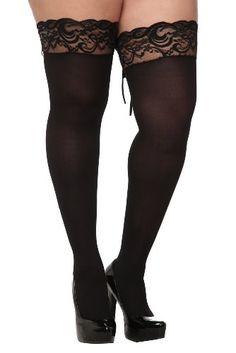 Torrid Plus Size Black Lace-Up Lace Trim Thigh Highs