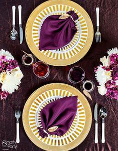 Fall leaf napkin fold and table setting