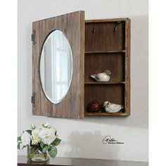 """Rustic Mirrored Wall Cabinet - Aged wood with ivory wash. 24""""w x 24""""h x 4""""d"""