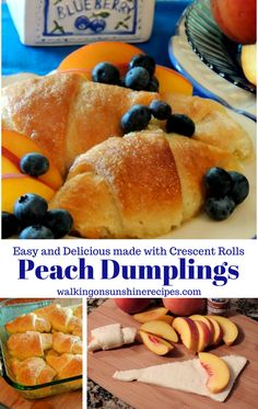 Peach Dumplings made with Canned Crescent Rolls from Walking on Sunshine Recipes. Fruit Recipes, Dessert Recipes, Cooking Recipes, Trifle Desserts, Chef Recipes, Vegetable Recipes, Croissant, Peach Crescent Rolls, Peach Dumplings