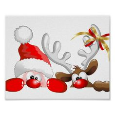 Christmas Funny Santa and Reindeer Cartoon Characters orignially made on Vector Technique! Cute image for children and for funny and Happy Christmas Holidays! Christmas Drawing, Christmas Paintings, Christmas Art, Christmas Humor, Christmas Holidays, Christmas Decorations, Christmas Ornaments, Christmas Canvas, Christmas Cartoons
