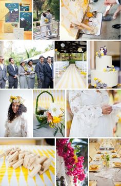 Check out all of the DIY details in the beautiful marigold and gray wedding of mama-to-be Justina Blakeney (@compai)