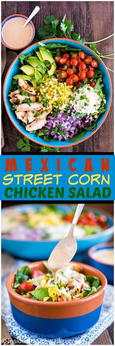 Mexican Street Corn Chicken Salad - grilled corn, cheese, chili lime ranch dressing, and chicken gives this salad a great flavor!  Awesome healthy dinner recipe!