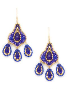 Miguel Ases Blue &Gold Chandelier Earrings