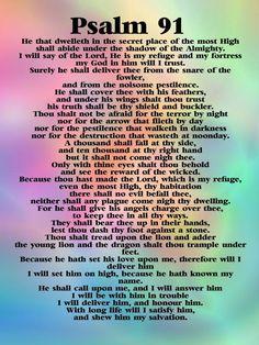 Psalm 91 Kjv, Psalm 91 Prayer, Prayer Scriptures, Bible Prayers, Faith Prayer, Prayer Quotes, Scripture Verses, Bible Verses Quotes, Deliverance Prayers