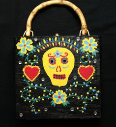 Sugar Skull Cigar Box Purse Day Of The Dead Hand Painted | Etsy Vintage Purses, Vintage Handbags, Vintage Accessories, Vintage Jewelry, Cigar Box Purse, Cigar Boxes, Dead Hand, Sugar Skull Design, New Handbags