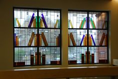 Arthur Stern / 'Books & Ideas' stained glass window ... depicts books on bookshelves, 2008, Elk Grove LIbrary, CA, USA
