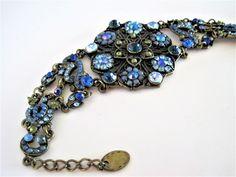 Blue  Bracelet, Rhinestone Floral, Blue Clusters, Flowered  Rhinestones.