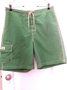 Polo Ralph Lauren Men's Green Nylon Board Shorts Swim Suit Trunks  Size Large #PoloRalphLauren #BoardShorts