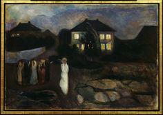 """LA NOCHE. """"La tormenta"""", 1893. La noche es otro tema fundamental. """"De hecho al final de su vida, cuando ya se instala en Oslo, vive prácticamente de noche. Es un gran noctámbulo y pintó muchos paisajes de noche"""". Ésta es una escena real que ocurrió durante ese verano. Fue una enorme tormenta que cogió por sorpresa las mujeres de Åsgårdstrand, por eso tienen esa expresión de susto""""."""
