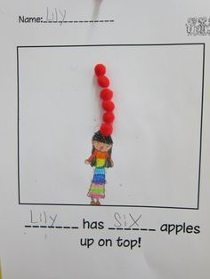 ten apples up on top - incorporate into a math lesson. lily has six, ___ has 4. How many do they have all together?
