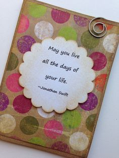 May You Live Handmade Card with Quote on Etsy, $3.95