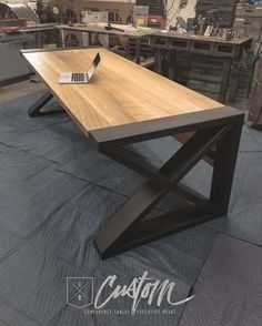 """1/4 Sawn White Oak Waterfall + Custom 2""""x 6"""" Steel End Caps! Is this your dream desk? Contact us to get yours built! IRcustom.com"""