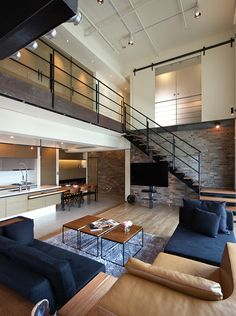 #Industrial #Living #Rooms-03-1 Kindesign // Loft# #Maisonette Wohnung im Industrie-Design