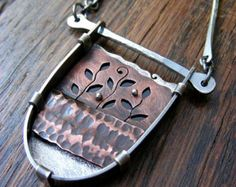 Metalsmith Fold Formed Copper & Silver Shadow Box Necklace - cut out leaves and branches and handmade chain links- all parts cold connected