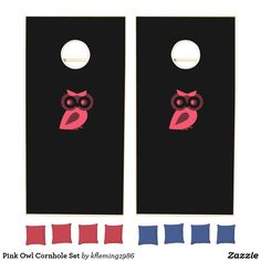 Shop Pink Owl Cornhole Set created by Personalize it with photos & text or purchase as is! Cross Beam, Pink Owl, Cornhole Set, Red Bags, School Colors, Epic Games, Board Games, Custom Design, Tabletop Games