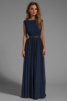 Alice + Olivia Triss Sleeveless Maxi Dress with Leather Trim in Navy