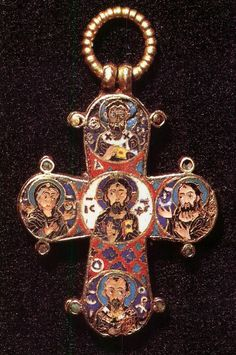 "Crucifixion of Christ (obverse). Deisis with Selected Saints (reverse). Cross Dagmar (Dagmarkorset); Byzantium. Constantinople; XI century. - Orthodox workshops ""Russian Icon"""