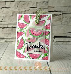 Amy Rysavy Simon Says Stamp June Throwback Thursday Artsy Fruits stamp set Card Making Tutorials, Making Ideas, Cool Cards, Diy Cards, Thanks Card, Simon Says, Card Sketches, Copics, Card Kit