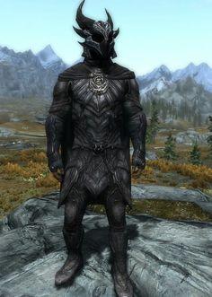 """""""Dremora Archer""""      By Ocean Splitter Nightingale Armor, Gauntlets, & Boots, Daedric Helmet"""