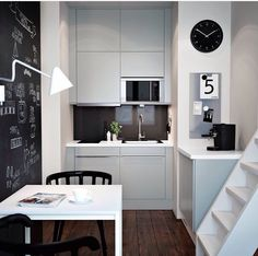 ikea kitchens small kitchen set up white kitchen cabinets fronts dining table kitch … - Home Decor Small Kitchen Set, Micro Kitchen, White Kitchen Decor, Kitchen Interior, Compact Kitchen, Tiny Spaces, Small Apartments, Casa Petra, Compact Living